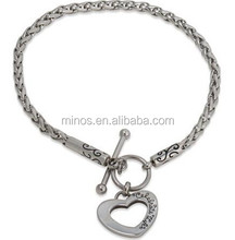 Connections from Hallmark Stainless Steel Heart Toggle Starter Bracelet