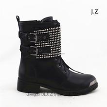 LQEB12 army studs black genuine leather non-slip desert boots