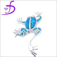 wholesale 925 Sterling Silver long legs fire opal frog pendant