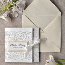 2015 most fashionable pure white wedding invitation cards with white silk ribbon