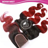 Wholesale Brazilian 3PCS body wave hair extension with 1PC lace closure cheap ombre kanekalon hair weaves
