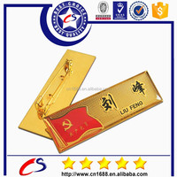 gold plating fashion metal nameplate with custom logo