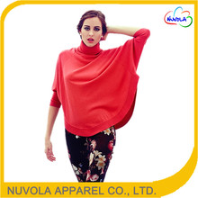 New fashion bat sleeve high neck woolen designs knitted wool phocho knitwear for ladies