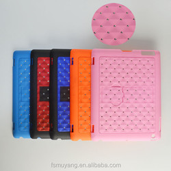 Exclusive Sales Diamond Lattice Rivet Tablet Stand Cases Back Cover for Apple iPad 2/3/4