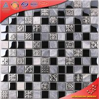 KS196 Black And Sliver Mosaic Stepping Stone Patterns Marble Mosaic Machine Marble Mosaic Border Tiles