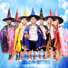 Colorful Halloween Children Witch Costumes with Hat Game Cosplay Party Kids