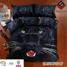 3D customized animal designs bedding black tiger for men 100% cotton printed bedsheet/comforter cover