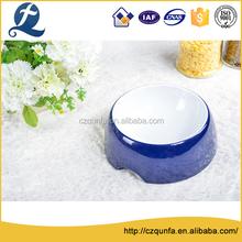 Heat resistance glazed bright blue round shape water bowl