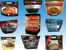 CUSTOM plastic slide zipper hot chicken bags/ roasted chicken packaging bag/microwaveable grilled chicken bag