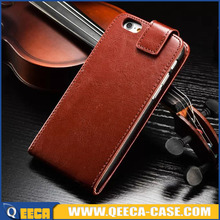Up and down open flip cover for iphone 6 premium leather case