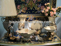 Porcelain with brass nouveau home decorative art set/ceramic art set/white ornate/bowl,horn,table lamp and accessories