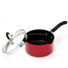 Aluminum cookware well equipped induction base red painting milk pot