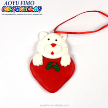 China suppliers polymer clay cat with heart popular style fimo merry christmas decoration