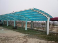 L-shape carport with arched roof and solid polycarbonate, strong aluminium frame