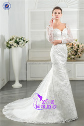 Hot Ladies T-W0024 Backless Lace Applique Sheath Long Sleeve Wedding Dresses