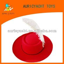 Red gangster trilby hat with feather for kid party favor
