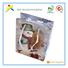 simple luxury paper bag christmas and New design Christmas feel snow man paper gift bag