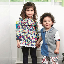 baby boy's matching fabric with embroidery 100% cotton t-shirt