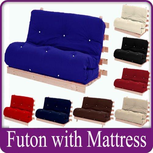 letto matrimoniale 2 posti futon telaio in legno di lusso materasso nella scelta dei colori ...