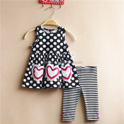New polka dot with heart stylish 0-3years infant clothes wholesale
