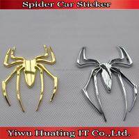 silver a6.8*7.8cm nd golden metal 3D universal cool spider car body sticker,great car exterior ornament