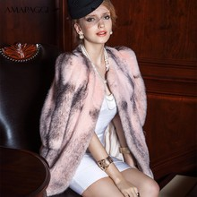 E144S23 Winter Long Pink Cross Mink Fur Coat For Women