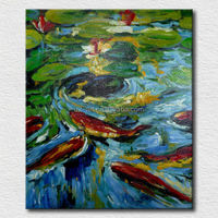 Fish oil painting interior home decoration artwork