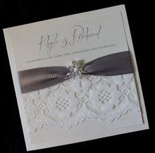 pocket fold wedding invitation card lace with brooch