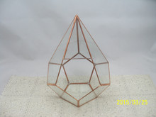 Copper frame Decorative Plant Geometric Glass Terrarium for plant holder