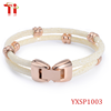 2016 luxurious stingray leather bracelet,black 4mm cords with rose gold plating