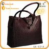 high quality Guangzhou handmade woven tote bag ladies leather retro bag
