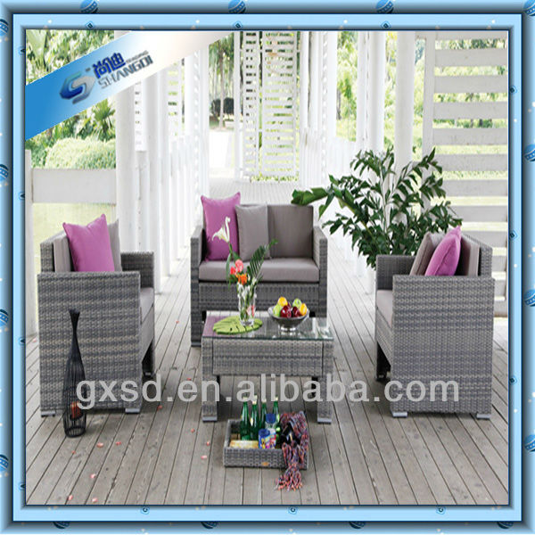 S&D L shaped European Style Living Room Wicker Sofa Furniture
