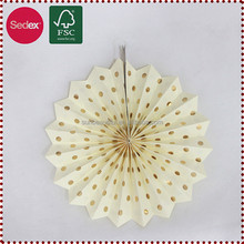 hot stamping offset printing paper fan for luxury wedding decoration