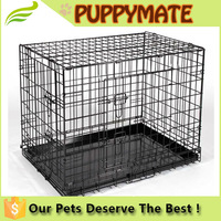 Dog Crate Single Door w/Divide w/Tray Fold Metal Pet Cage Kennel House for Animal