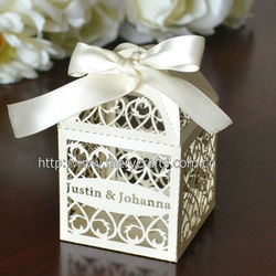 "laser cut ""filigree"" favor box personalized wedding box"