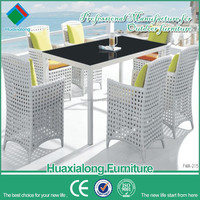 Foshan Huaxialong PE plastic synthetic rattan wicker 6 seater table chairs set dining dinner outdoor patio garden furniture