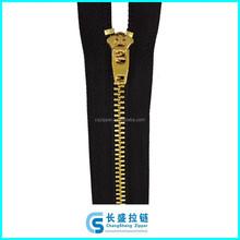 4# shiny gold Y teeth metal zipper YG slider for jeans