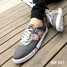 latest 2015 in chinese market casual canvas shoes for men cartoon pattern PU leather design