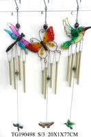 hot selling beautiful metal dragonfly butterfly bird wind bell hanging wall decor