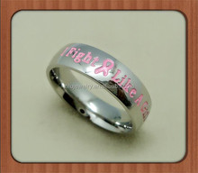 Wholesale 6mm High Polished Classic Domed custom Breast Cancer Awareness Pink ribbon Stainless steel ring