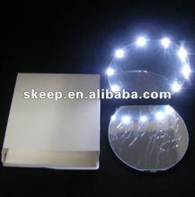 2012 new design Decent plastic foldable pocket desk gift promotion mirror with led lights