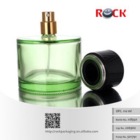 New style CE/ISO 110ml cylindrical green glass perfume bottles with black plastic cap