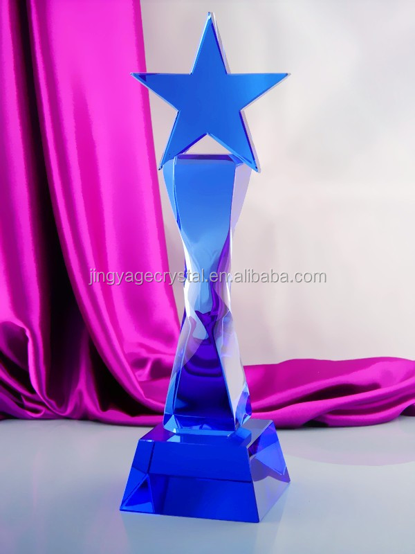 blue crystal star award trophy flame