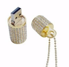 High quality diamond Lipstick Case Jewelry USB Flash Drive with Necklace + key chain