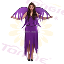 Wholesale women sexy purple Angel costumes halloween cospaly costume with wing