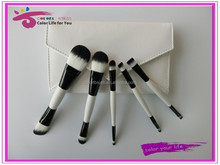 5pcs Dual-end Makeup Brush Set Synthetic Hair Two-tone Cosmetic Bag Private Label