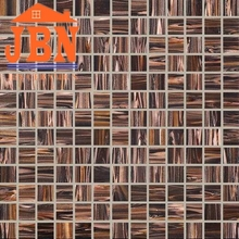 glolen brown color 327x327 cheap price with golden line mosaic brown color 4mm glass mosaic for swimming pool tile