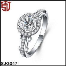 3 carati in oro bianco placcato zirconia cubico band Halo Sona anelli di fidanzamento