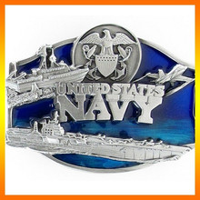 Direct Factory Navy Silver Plating Metal Military Style Belt Buckle
