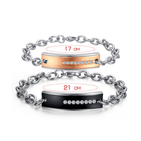 Wholesale Sweet Stainless Steel Couple Love Bracelet CZ Jewelry 2015